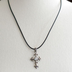 Sterling Silver Cross W/ White Topaz Cord Necklace
